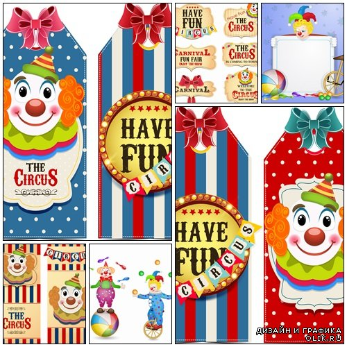 Circus tags with clowns - vector stock