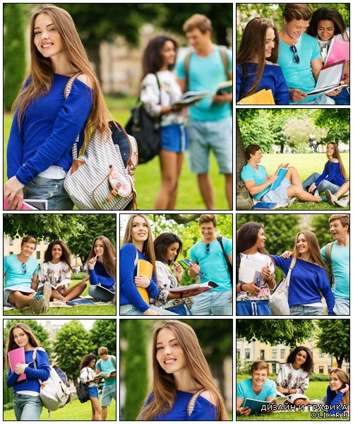 Group of multi ethnic students - Stock Photo