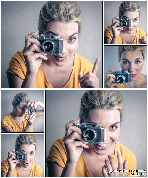Woman photographer - Stock Photo