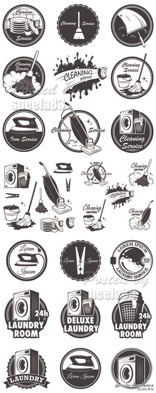 Cleaning Retro Icons Vector