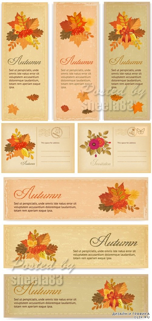 Autumn Backgrounds & Banners Vector 2