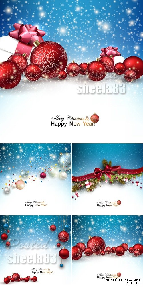 Christmas & New Year 2015 Backgrounds Vector