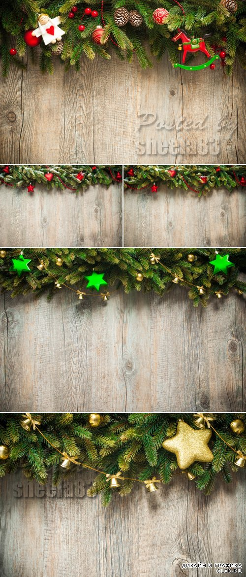 Stock Photo - Christmas Decorations on Wooden Background 5
