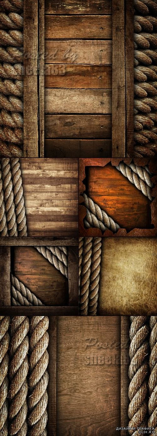 Stock Photo - Wooden Backgrounds with Ship Rope