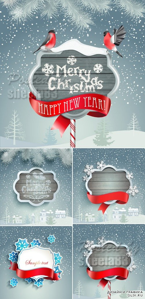 Christmas & Winter Backgrounds Vector