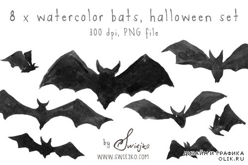 Watercolor Bats PNG