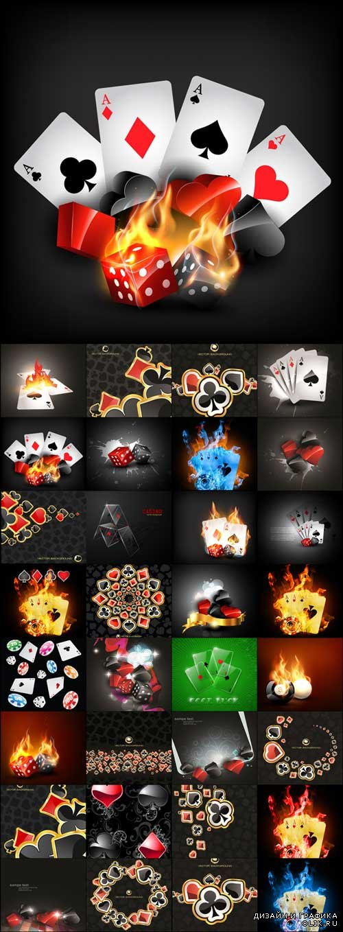 Black poker backgrounds vector material