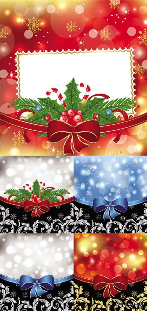Shiny Christmas Backgrounds With bow design vector