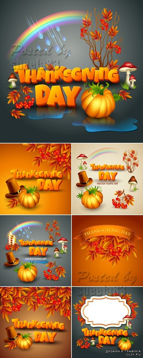 Thanksgiving Day Backgrounds Vector 2