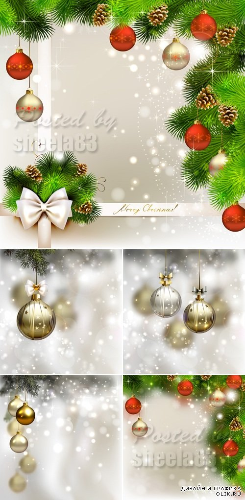 Christmas & New Year 2015 Backgrounds Vector 2