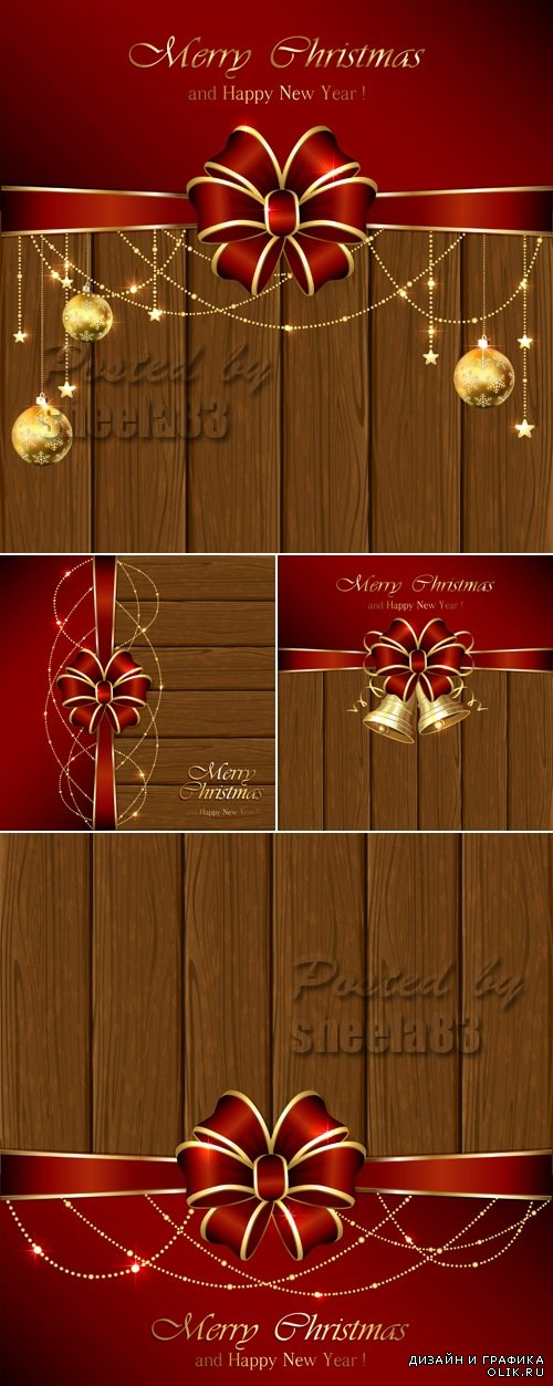 Christmas Decorations on Wooden Background Vector