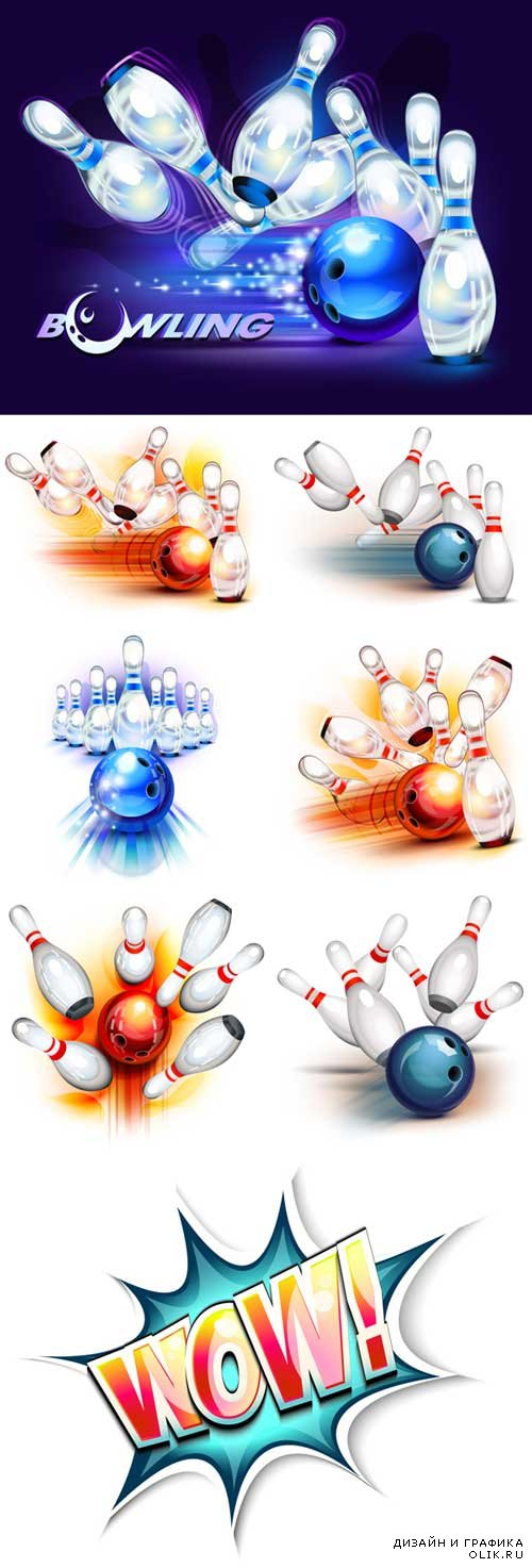 Bowling ball knocking down pins vector