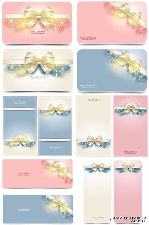 Christmas cards with radiant bow vectors