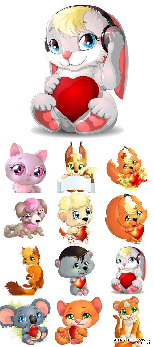 Cute little animals cartoon cat fox and other vectors