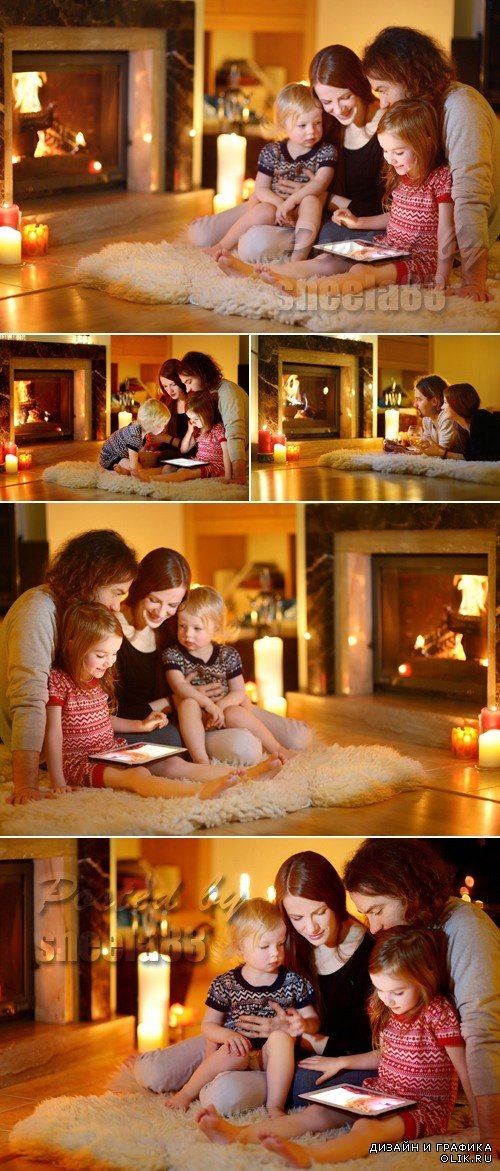 Stock Photo - Happy Family near Fireplace