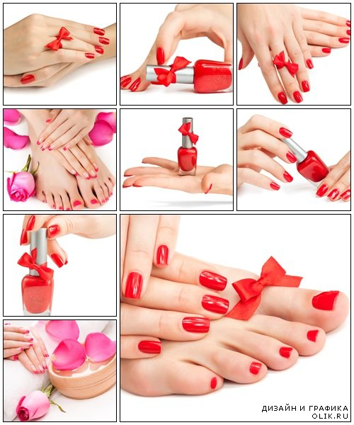 Woman's hand with a bottle of red nail polish - Stock Photo