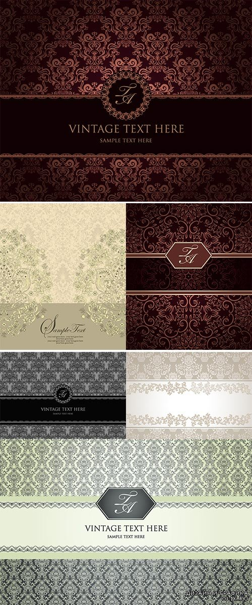 Stock Vector Vintage background with damask pattern