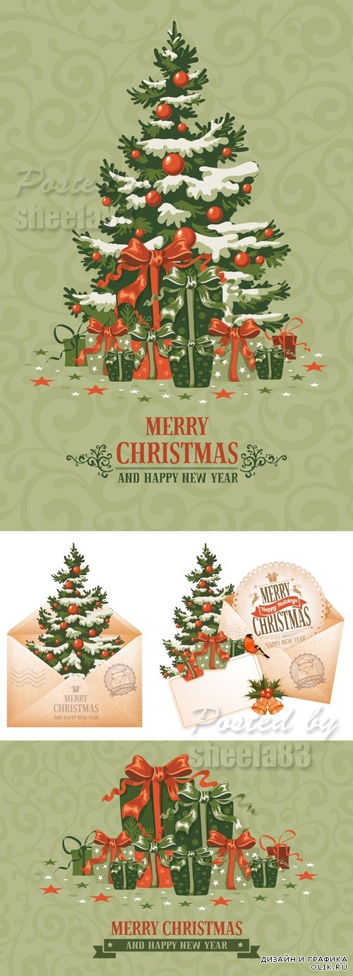 Vintage Xmas Backgrounds Vector
