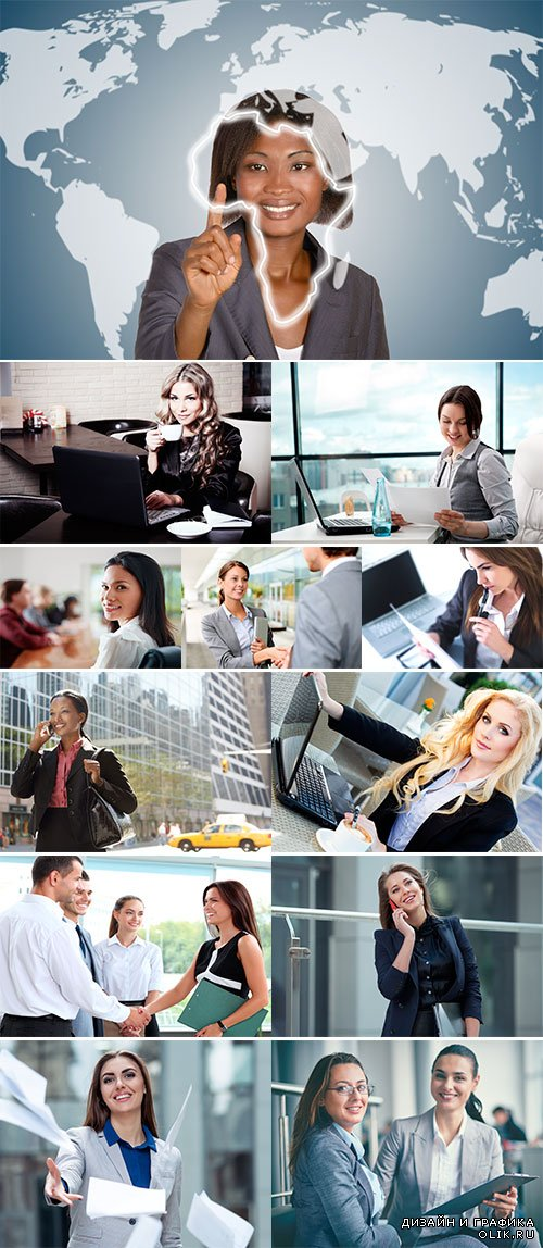Stock Photo Business woman in an office with laptop