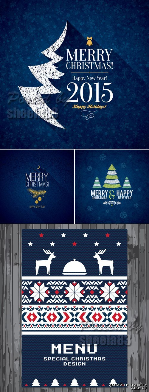Blue Christmas & New Year Backgrounds 2