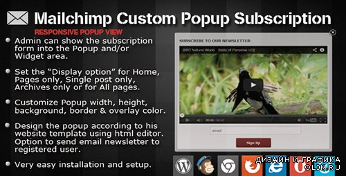 CC - Mailchimp Custom Popup Subscription v1.3 for wordpress