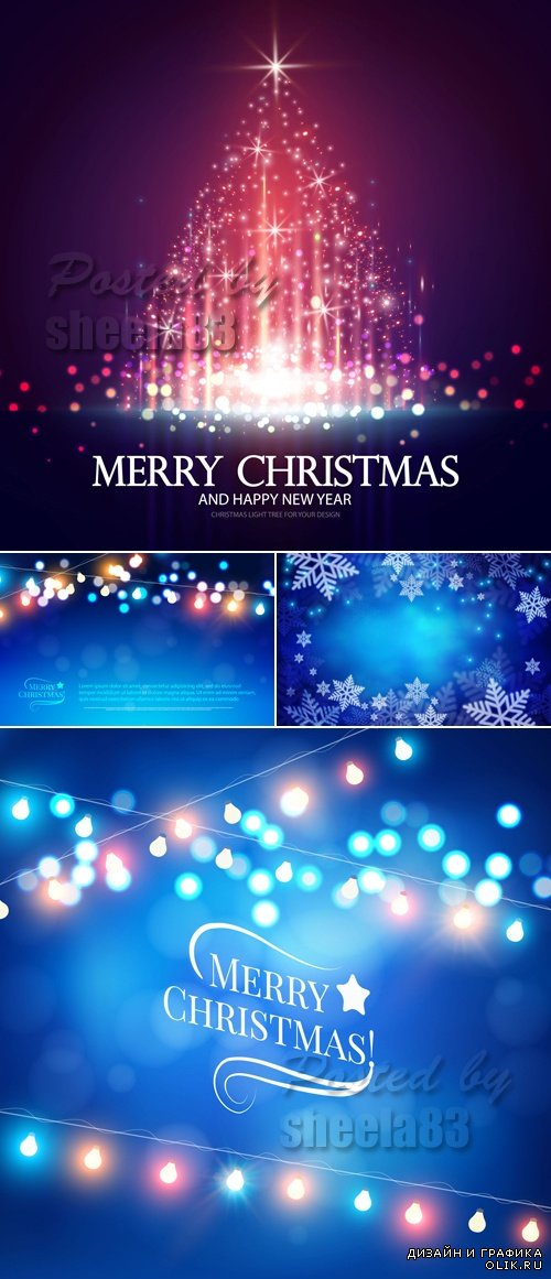Christmas Lights Backgrounds Vector