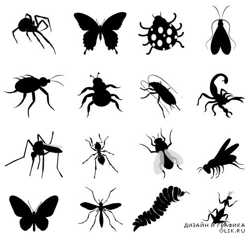 Clipart Silhouettes of butterflies (Vector)