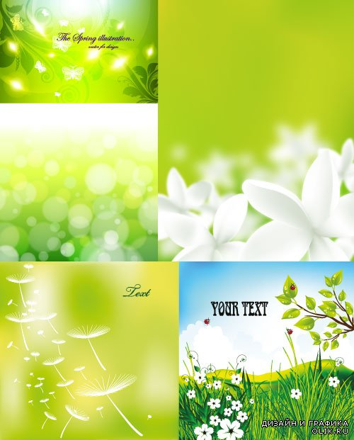 Green floral backgrounds clipart vector