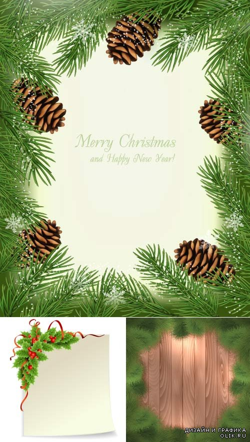 Christmas clipart Green spruce frame (Vector)