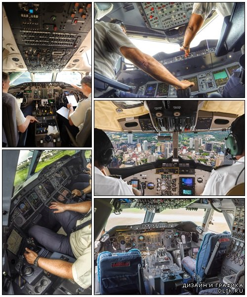 Pilots in the plane cockpit and city - Stock Photo