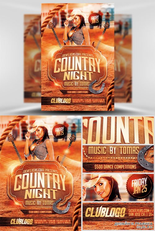 Country Night Flyer Template