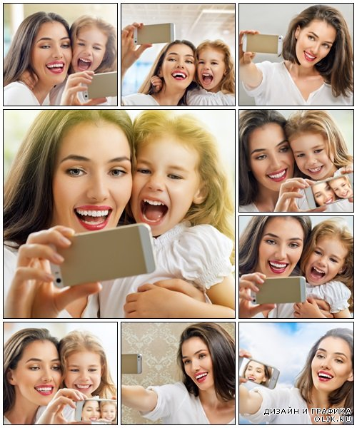 Mother and daughter with camera - Stock Photo