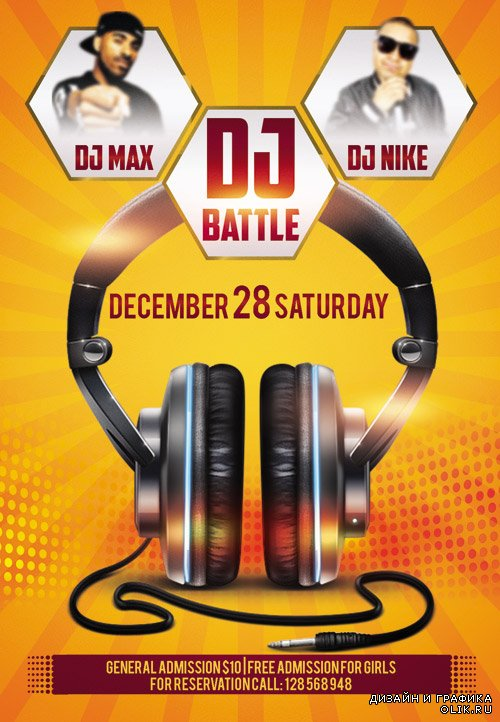 Dj Battle - Club and Party Flyer Template  PSD