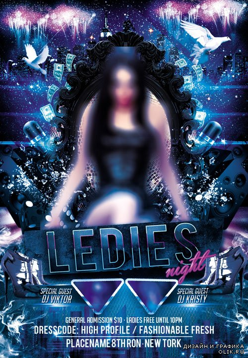 Ladies Night Flyer Template PSD