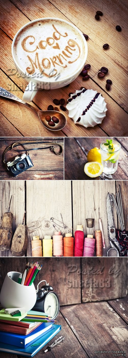Stock Photo - Various Objects on Wooden Background