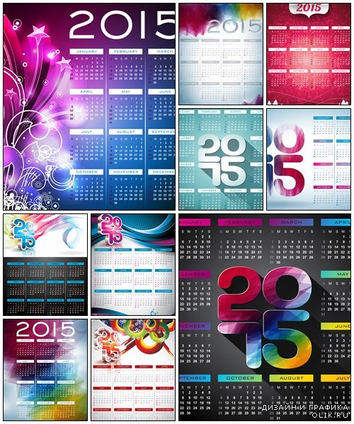 Vector Calendar 2015 illustration with abstract color design, 10 - vector stock