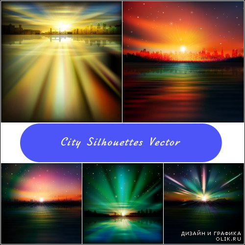 Sunset and sunrise background silhouettes big city (vector)