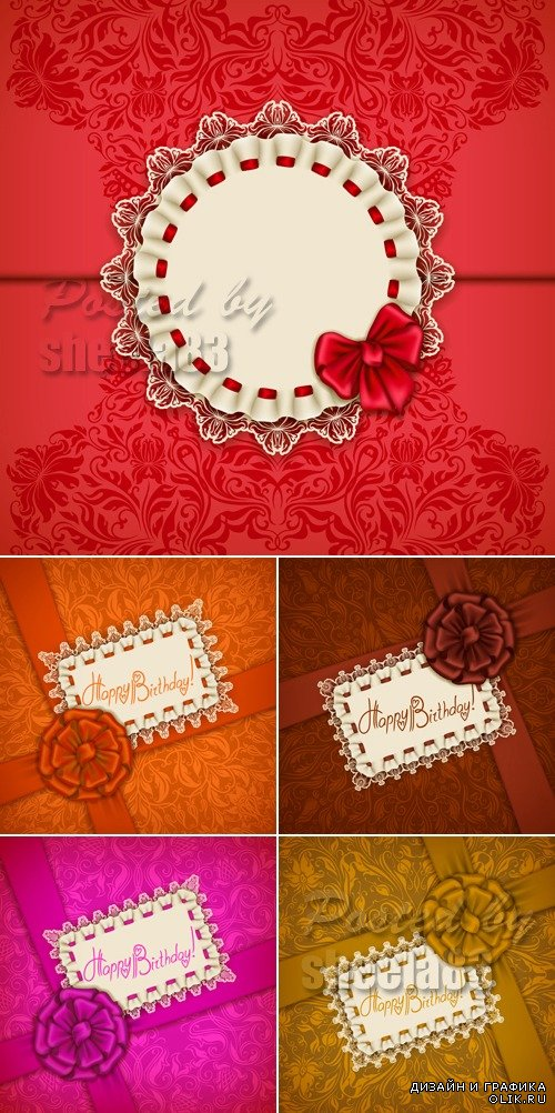 Festive Cards with Bows Vector