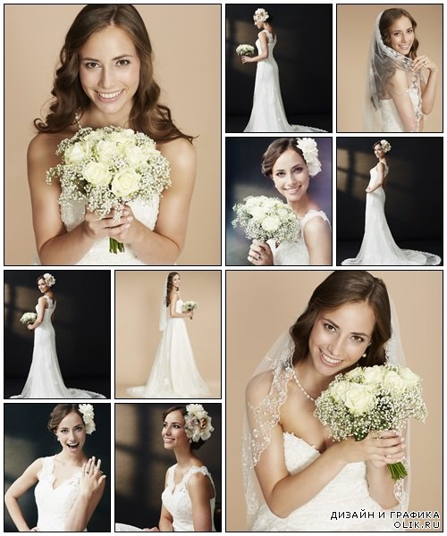 Stunning young bride holding bouquet - Stock Photo