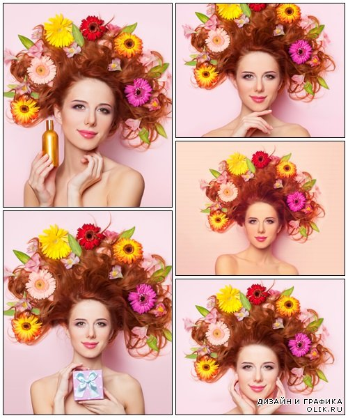 Beautiful redhead girl with flowers on pink background - Stock Photo