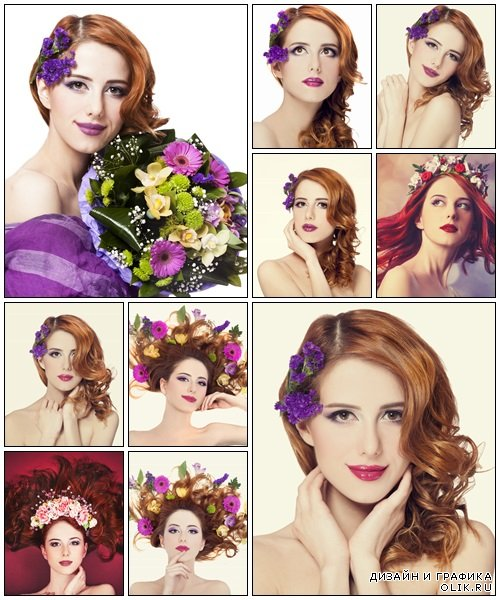 Redhead girl with flower, isolated - Stock Photo