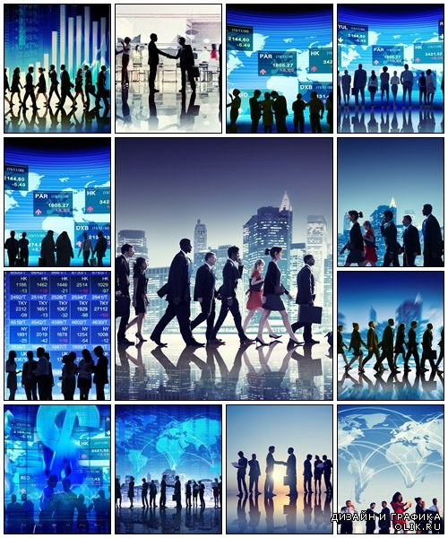 Business People Walking Financial Figures - Stock Photo