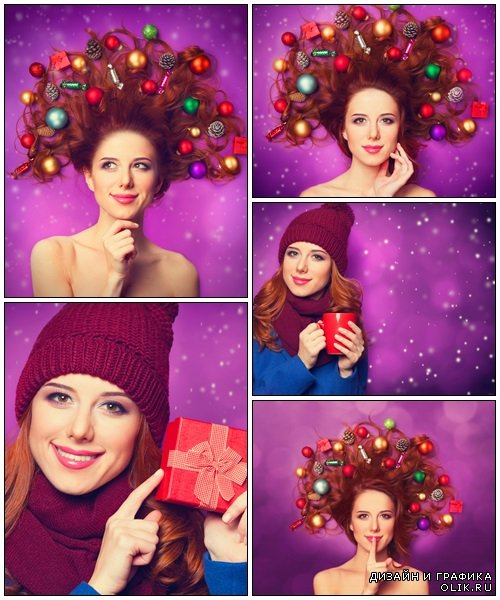Beautiful redhead girl with christmas toy - Stock Photo
