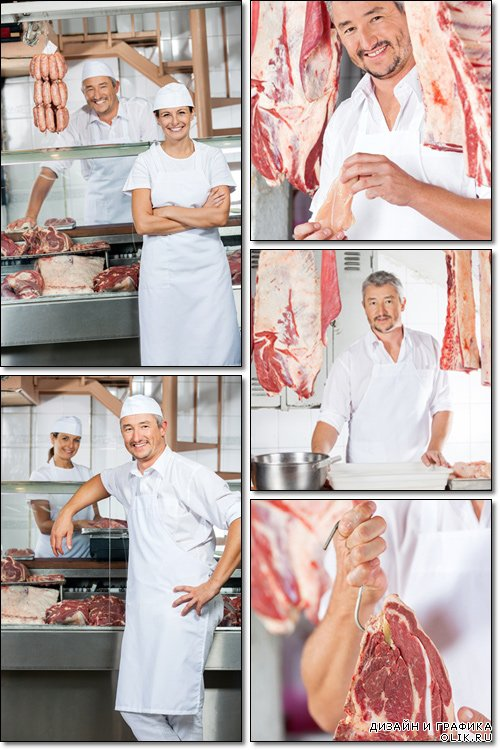 Butcher Amidst Meat Hanging In Shop - Stock photo