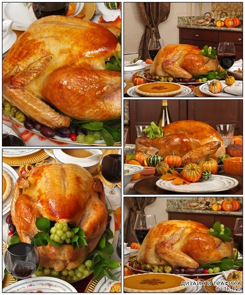 Whole roasted turkey with vegetables - Stock Photo