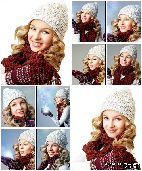 Cheerful woman clothing in warm hat - Stock Photo