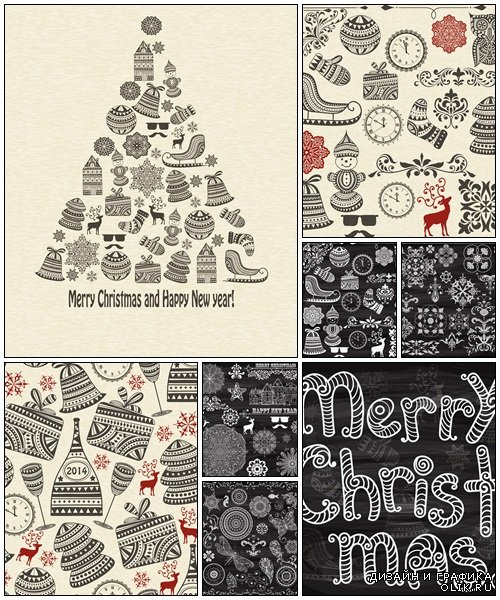 Christmas vintage elements - vector stock