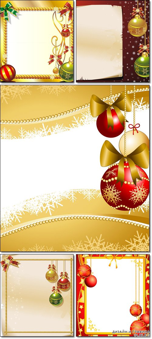 New Years and Christmas Ornaments, Background, Greeting Card - Vector