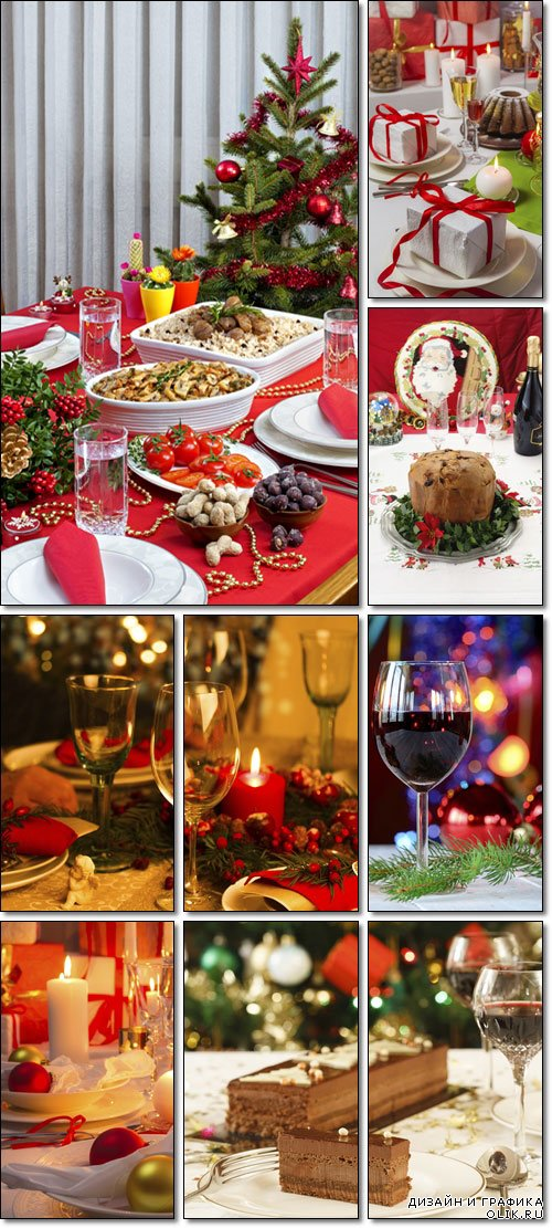 Christmas dining table waiting for guests - Stock photo