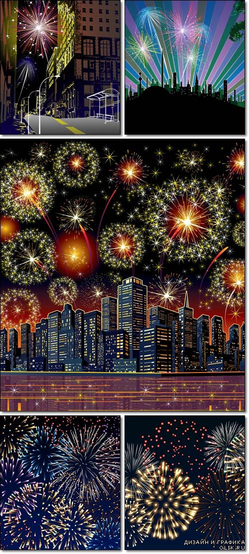 Firework City At Night, far urban - Vector